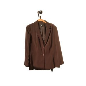 NORTON MCNAUGHTON Brown Blazer Jacket - Size 18